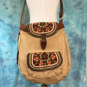 Lucky Brand Embroidered Leather Canvas Bag